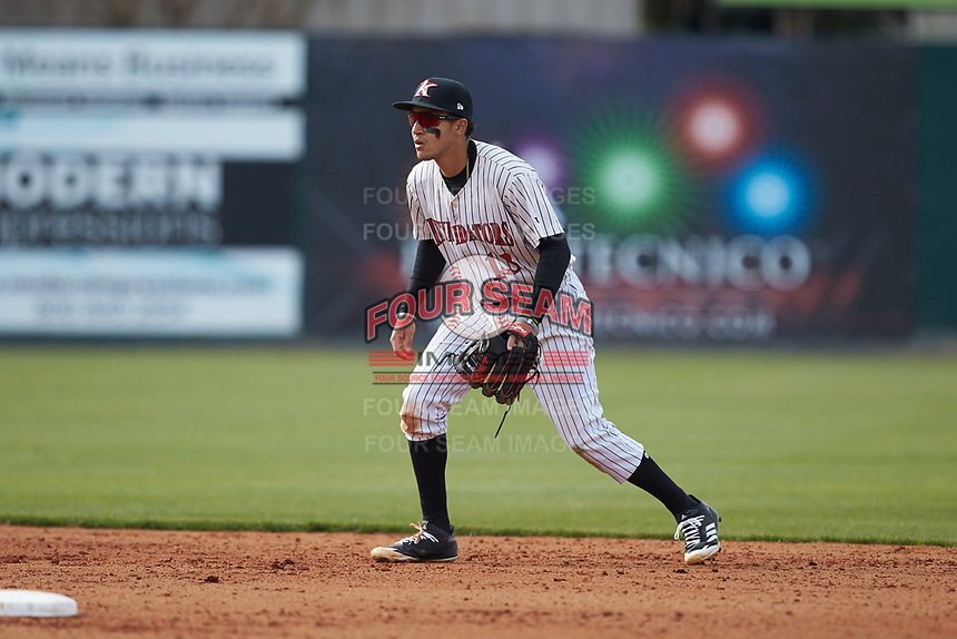 Kannapolis Intimidators shortstop Laz Rivera (13) on defense against the Lakewood BlueClaws at Kannapolis Intimidators Stadium on April 8, 2018 in Kannapolis, North Carolina.  The Intimidators defeated the BlueClaws 4-3 in game two of a double-header.  (Brian Westerholt/Four Seam Images)