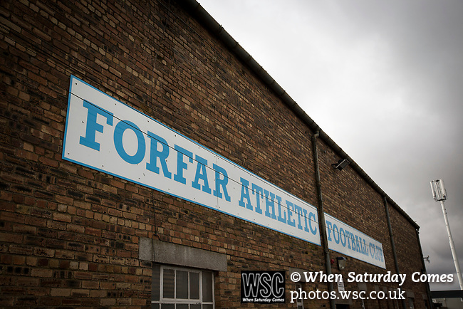 Forfar Athletic 1 Edinburgh City 2, 02/02/2017. Station Park, SPFL League 2. An exterior view behind the main stand at Station Park, pictured before Forfar Athletic took on Edinburgh City in an SPFL League 2 fixture. It was the club's sixth and final meeting of City's inaugural season since promotion from the Lowland League the previous season. City came from behind to win this match 2-1, watched by a crowd of 446. Photo by Colin McPherson.