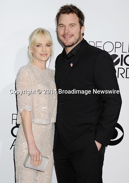 Pictured: Anna Faris,  Chris Pratt<br /> Mandatory Credit &copy; Gilbert Flores /Broadimage<br /> 2014 People's Choice Awards <br /> <br /> 1/8/14, Los Angeles, California, United States of America<br /> Reference: 010814_GFLA_BDG_191<br /> <br /> Broadimage Newswire<br /> Los Angeles 1+  (310) 301-1027<br /> New York      1+  (646) 827-9134<br /> sales@broadimage.com<br /> http://www.broadimage.com