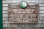 Sign on the Lakes of the Clouds hut, Mount Washington, New Hampshire, USA