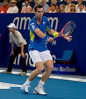Andy Murray (GBR) against Pillipp Kohlschreiber (GER) in the group B match between Great Britain and Germany. Murray (GBR) beat Kohlschreiber (GER) 6-4 6-1..International Tennis - Hyundai Hopman Cup XXII - Wed  06 Jan 2010 - Burswood Dome - Perth - Australia ..© Frey, AMN Images, 1st Floor, Barry House, 20-22 Worple Road, London, SW19 4DH.Tel - +44 20 8947 0100