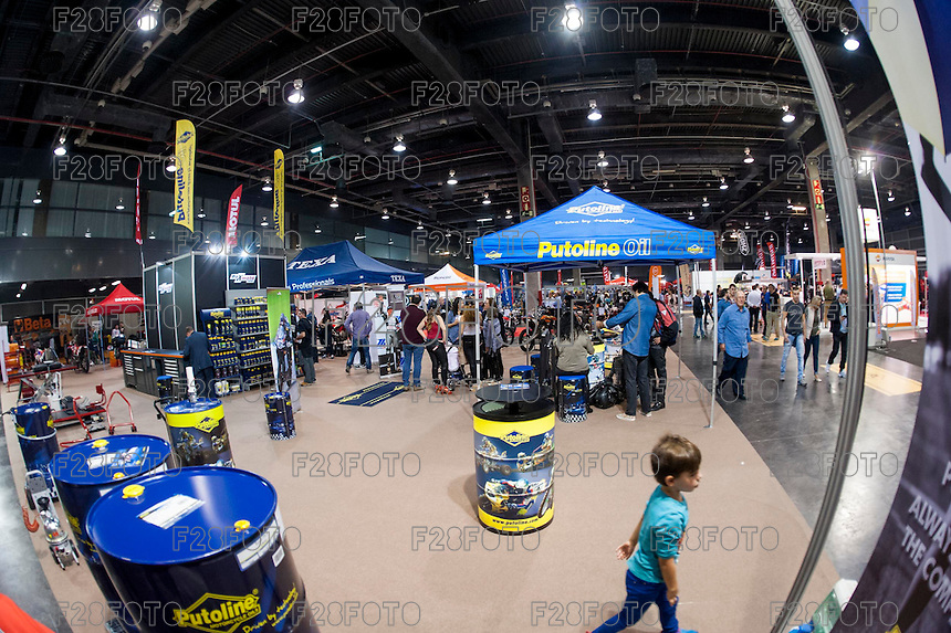 VALENCIA, SPAIN - NOVEMBER 7: Putoline stand during DOS RODES at Feria Valencia on November 7, 2015 in Valencia, Spain