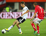 03.06.2011, Ernst Happel Stadion, Wien, AUT, UEFA EURO 2012, Qualifikation, Oesterreich (AUT) vs Deutschland (GER), im Bild Zweikampf zwischen Thomas Mueller, (GER, #13) und Stefan Kulovits, (AUT, #7)  // during the UEFA Euro 2012 Qualifier Game, Austria vs Germany, at Ernst Happel Stadium, Vienna, 2010-06-03, EXPA Pictures © 2011, PhotoCredit: EXPA/ T. Haumer