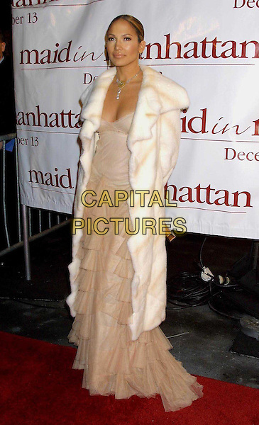 JENNIFER LOPEZ..Maid In Manhattan Film Premiere in New York..ruffles, frills, tiered dress, layers, chiffon, fur coat, fur coat, full length, full-length..www.capitalpictures.com..sales@capitalpictures.com..©Capital Pictures
