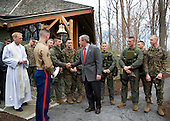 Camp David, MD - April 16, 2006 -- United States President George W. Bush visits with military personnel after attending a church service at Evergreen Chapel at Camp David, Maryland, Sunday, April 16, 2006. .Credit: Eric Draper - White House via CNP