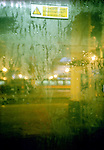 Rain on a window of a train. London