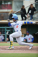 Lazaro Armenteros (13) of the Stockton Ports bats against the Inland Empire 66ers at San Manuel Stadium on May 26, 2019 in San Bernardino, California. (Larry Goren/Four Seam Images)