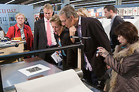 Buchmesse Frankfurt, biggest book fair in the World. Lithography demonstration.