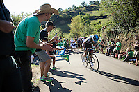 Sergio Henao (COL/SKY) up the ridiculously steep bit (+21%) of the final climb<br /> <br /> stage 16: Luarca - Ermita de Alba. Quiros (185km)<br /> 2015 Vuelta &agrave; Espagna