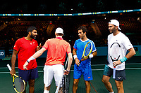 Rotterdam, The Netherlands, 9 Februari 2020, ABNAMRO World Tennis Tournament, Ahoy, Doubles: Jean-Julien Rojer (NED) and Horia Tecau (ROU), Rohan Bopanna (IND) and Denis Shapovalov (CAN).<br /> Photo: www.tennisimages.com