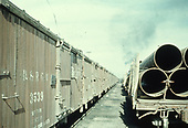 Alamosa yard scene with many box cars and loaded pipe gondolas.<br /> D&amp;RGW  Alamosa, CO