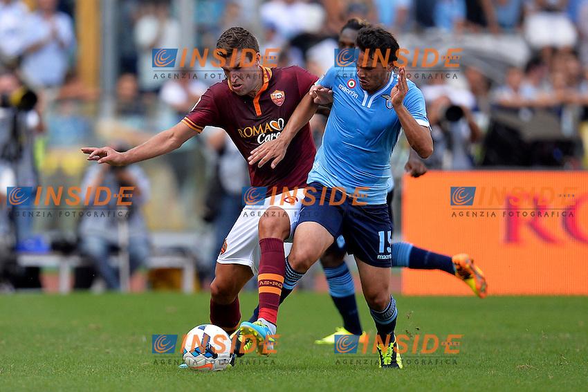 Kevin Strootman Roma, Alvaro Gonzalez Lazio <br /> Roma 22-09-2013 Stadio Olimpico <br /> Football Calcio Campionato Italiano Serie A<br /> Roma - Lazio <br /> Foto Andrea Staccioli Insidefoto