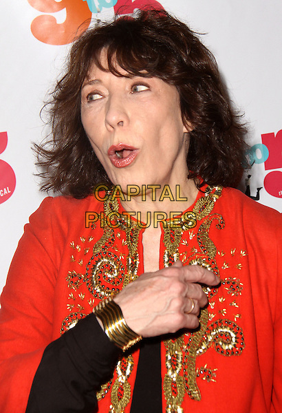 LILY TOMLIN .9 To 5: The Musical Opening Night Performance held at the Marriott Marquis Theater, New York, NY, USA, .30th April 2009..portrait headshot red gold beaded hand bracelet funny mouth open nine five .CAP/ADM/PZ.©Paul Zimmerman/Admedia/Capital Pictures