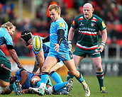 6th January 2018, Welford Road Stadium, Leicester, England; Aviva Premiership rugby, Leicester Tigers versus London Irish; Scott Steele  kicks out of defence for London Irish