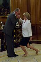 30.07.2012. King Juan Carlos I of Spain attends the audience with Soledad Becerril Bustamante, Defender of the People, at the Royal Palace of La Zarzuela. In the image King Juan Carlos and Soledad Becerril Bustamante  (Alterphotos/Marta Gonzalez) *NortePhoto.com<br /> <br />  **CREDITO*OBLIGATORIO** *No*Venta*A*Terceros*<br /> *No*Sale*So*third* ***No*Se*Permite*Hacer Archivo***No*Sale*So*third*&copy;Imagenes*con derechos*de*autor&copy;todos*reservados*.<br /> El uso de las imagenes est&aacute; sujeta de pago a  nortephoto.com