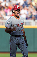Arkansas Razorbacks pitcher Jackson Lowery (35) celebrates an inning ending strike out during the NCAA College baseball World Series against the Miami Hurricanes on June 15, 2015 at TD Ameritrade Park in Omaha, Nebraska. Miami beat Arkansas 4-3. (Andrew Woolley/Four Seam Images)