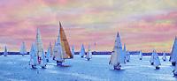 Marina Del Rey, CA, USA, Sailing, Southern California, Santa Monica Bay, Sunset Panorama, Beautiful, South Bay, SoCal, Motor Boating, Power Yachts, Transportation