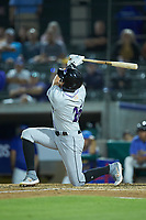 Craig Dedelow (26) of the Winston-Salem Dash drops to a knee as he follows through on his swing against the Myrtle Beach Pelicans at TicketReturn.com Field on May 16, 2019 in Myrtle Beach, South Carolina. The Dash defeated the Pelicans 6-0. (Brian Westerholt/Four Seam Images)
