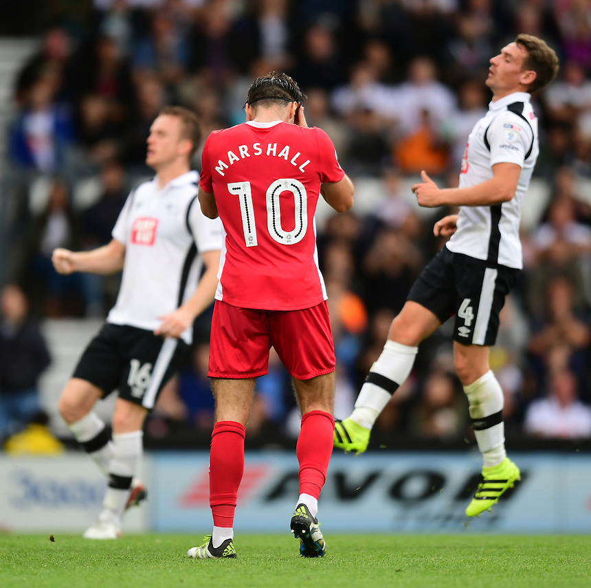 Blackburn Rovers' Ben Marshall reacts after missing a first half penalty<br /> <br /> Photographer Chris Vaughan/CameraSport<br /> <br /> The EFL Sky Bet Championship - Derby County v Blackburn Rovers  - Saturday 24th September 2016 - iPro Stadium - Derby<br /> <br /> World Copyright &copy; 2016 CameraSport. All rights reserved. 43 Linden Ave. Countesthorpe. Leicester. England. LE8 5PG - Tel: +44 (0) 116 277 4147 - admin@camerasport.com - www.camerasport.com