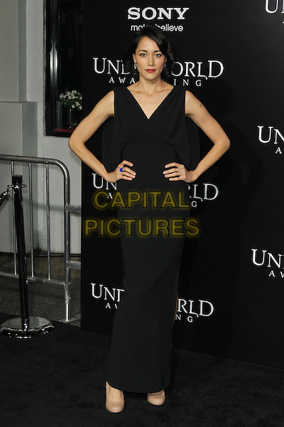 "SANDRINE HOLT.""Underworld Awakening"" Los Angeles Premiere held at Grauman's Chinese Theatre, Hollywood, California, USA..January 19th, 2012.full length black dress sleeveless maxi hands on hips .CAP/CEL .©CelPh/Capital Pictures."