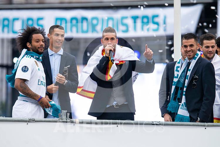 Real Madrid Marcelo, Cristiano Ronaldo, Sergio Ramos and Dani Ceballos during the celebration of the Thirteen Champions League at Cibeles Fountain in Madrid, Spain. May 27, 2018. (ALTERPHOTOS/Borja B.Hojas)