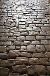 Paving stones, worn stone street, Calvi, West Coast Corsica, Corsica, France, towns in Corsica, French coastal villages, Corsican coast,
