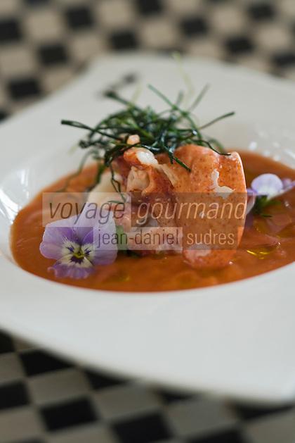 Europe/Suisse/Jura Suisse/ Neuchatel:  Gaspacho de Homard recette de Luigi Lafranco   de l' Hôtel Palafitte construit sur le lac de Neuchâtel