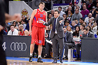CSKA Moscow Victor Khryapa and coach Dimitris Itoudis during Turkish Airlines Euroleague match between Real Madrid and CSKA Moscow at Wizink Center in Madrid, Spain. January 06, 2017. (ALTERPHOTOS/BorjaB.Hojas)