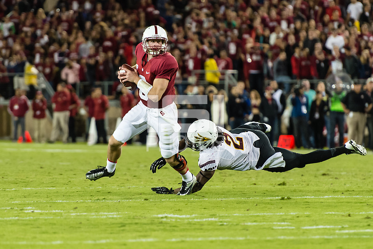 STANFORD, CA - SEPTEMBER 22, 2013: Kevin Hogan during Stanford's game against Arizona State. The Cardinal defeated the Sun Devils 42-28.