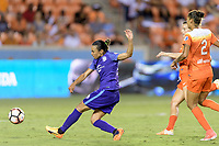 Houston, TX - Saturday June 17, 2017: Marta Vieira Da Silva takes a shot at the Houston goal and scores during a regular season National Women's Soccer League (NWSL) match between the Houston Dash and the Orlando Pride at BBVA Compass Stadium.