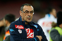 Maurizio Sarri  during the  italian serie a soccer match,between SSC Napoli and Chievo Verona      at  the San  Paolo   stadium in Naples  Italy , March 05, 2016<br /> Napoli won  3 - 1