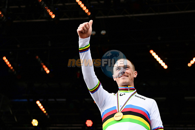 The new World Champion Australia's Rohan Dennis of the Men Elite Individual Time Trial of the UCI World Championships 2019 running 54km from Northallerton to Harrogate, England. 25th September 2019.<br /> Picture: Alex Broadway/SWpix.com | Cyclefile<br /> <br /> All photos usage must carry mandatory copyright credit (© Cyclefile | Alex Broadway/SWpix.com)