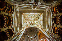 Ceiling, Inside the Mezquita (the Mosque-Cathedral) of Corboba, Cordoba Province,  Spain.