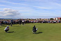 Andy Ogletree (USA) and Euan Walker (GB&I) on the 18th green during Day 2 Foursomes of the Walker Cup, Royal Liverpool Golf CLub, Hoylake, Cheshire, England. 08/09/2019.<br /> Picture Thos Caffrey / Golffile.ie<br /> <br /> All photo usage must carry mandatory copyright credit (© Golffile | Thos Caffrey)