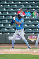 Trey Martin (15) of the Myrtle Beach Pelicans at bat against the Winston-Salem Dash at BB&T Ballpark on May 10, 2015 in Winston-Salem, North Carolina.  The Pelicans defeated the Dash 4-3.  (Brian Westerholt/Four Seam Images)