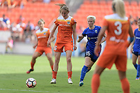 Houston, TX - Saturday May 27, 2017: Janine Beckie looks to gain control of a loose ball during a regular season National Women's Soccer League (NWSL) match between the Houston Dash and the Seattle Reign FC at BBVA Compass Stadium.