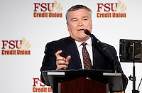 TALLAHASSEE, FLA. 2/6/13-FSUSIGNDAY020613 CH-Florida State University President Eric J. Barron speaks during FSU's national signing day War Party, Feb. 6, 2013 in Tallahassee..COLIN HACKLEY PHOTO