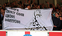 "SUNDERLAND, ENGLAND - MAY 13: A ""There is only one Leon Britton"" banner held by Swansea supporters during the Premier League match between Sunderland and Swansea City at the Stadium of Light, Sunderland, England, UK. Saturday 13 May 2017"