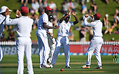 1st December 2017, Basin Reserve, Wellington, New Zealand; International Test Cricket, Day 1, New Zealand versus West Indies;  Kemar Roach celebrates the wicket of WIlliamson