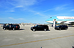 WEST PALM BEACH, FL - FEBRUARY 17: U.S. President Donald J. Trump motorcade at the airport tarmac waiting for POTUS to finish greeting his supporters after arrives on Air Force One at the Palm Beach International Airport as they prepare to spend part of the weekend at Mar-a-Lago resort on February 17, 2017 in West Palm Beach, Florida. After touring and meeting with Dennis Muilenburg Chairman of the Board, President, and CEO of the Boeing Company. also president Trump planning to hold a campaign rally tomorrow at Melbourne Florida. ( Photo by Johnny Louis / jlnphotography.com )