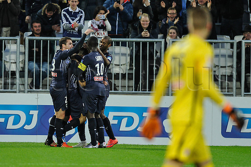 16.12.2015. Bordeaux, France. French League cup football from the Stade Chaban-Delmas. Bordeaux versus Monaco.  Bordeaux celebrate their first goal while Monaco keeper looks on