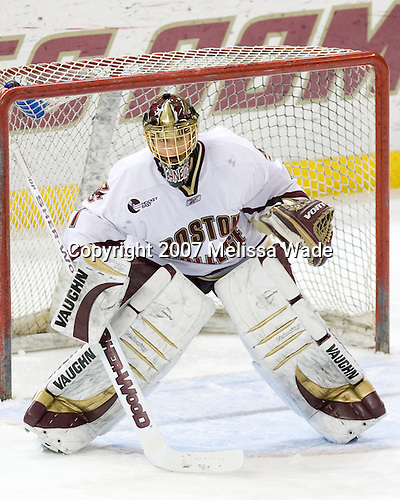 Cory Schneider (BC - 1) - The Boston College Eagles defeated the visiting Northeastern University Huskies 7-1 on Friday, March 9, 2007, to win their Hockey East quarterfinals matchup in two games at Conte Forum in Chestnut Hill, Massachusetts.