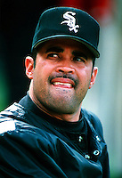 Ozzie Guillen of the Chicago White Sox during a game at Anaheim Stadium in Anaheim, California during the 1997 season.(Larry Goren/Four Seam Images)