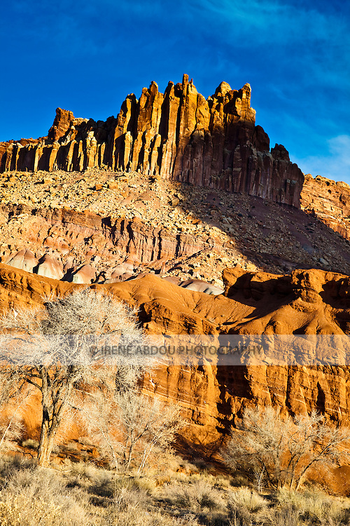 """The """"Castle"""" rock formation of Capitol Reef National Park in southern Utah glows orange-yellow in the early sunrise light."""