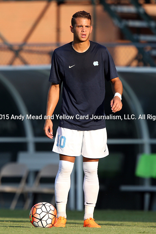 14 August 2015: North Carolina's Zach Wright. The University of North Carolina Tar Heels hosted the Winthrop University Eagles at Fetzer Field in Chapel Hill, NC in a 2015 NCAA Division I Men's Soccer preseason exhibition. North Carolina won the game 4-1.