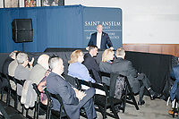 People wait for Vice President Mike Pence to speak at a Politics and Eggs event at Saint Anselm College's Institute of Politics in Manchester, New Hampshire, on Thu., November 7, 2019. Pence traveled to New Hampshire as a surrogate for Donald Trump to file required paperwork for the president to get on the New Hampshire presidential primary ballot in 2020.