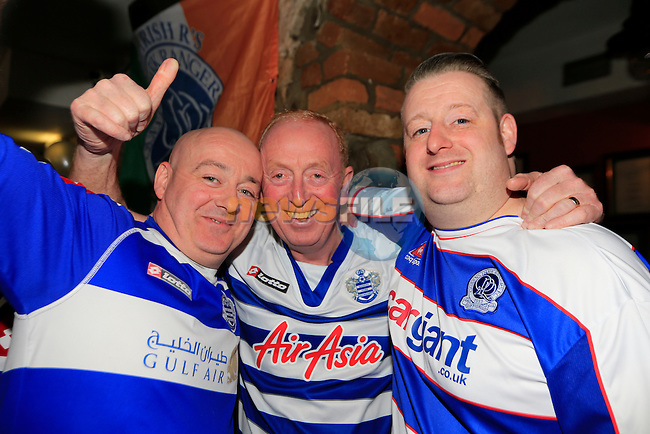 Gordie McDonagh, Liam Beatty and Johnny McDonagh at the QPR match in Mother Hughes<br /> Picture: Fran Caffrey www.newsfile.ie