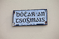 Botar an Tsojmais gaelic street sign in Meltown Malbay, County Clare, West of Ireland
