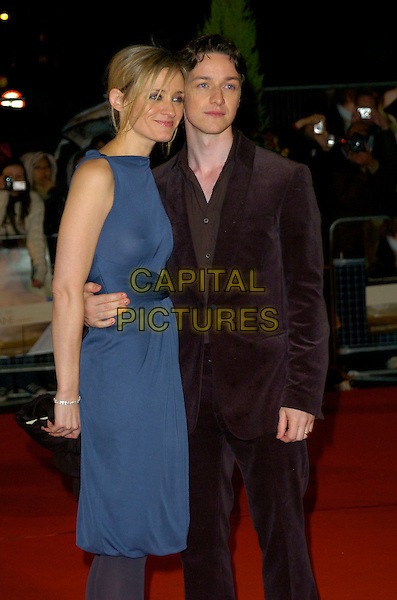 """ANNE-MARIE DUFF & JAMES McAVOY.""""Becoming Jane"""" World Premiere, Odeon West End, .London, England, March 4th 2007..half length anne marie blue dress tights see through thru sheer boobs breasts nipples couple.CAP/CAN.©Can Nguyen/Capital Pictures"""