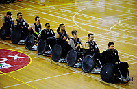The Wheel Blacks sing the national anthem before the 2017 International Wheelchair Rugby Federation Asia-Oceania Zone Championships tournament bronze final match between the New Zealand Wheel Blacks and Korea at ASB Stadium in Auckland, New Zealand on Thursday, 31 August 2017. Photo: Dave Lintott / lintottphoto.co.nz